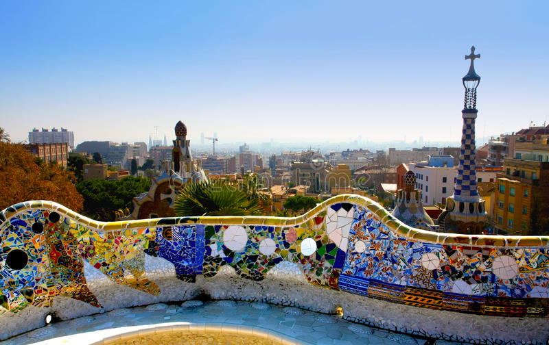 A view from the Park Guell, Barcelone, Spain royalty free stock photography