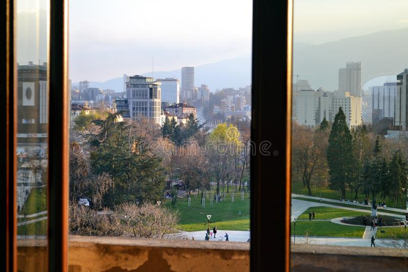 View of the park in the National Palace of Culture in Sofia. The National Palace of Culture, located in Sofia, the capital of Bulgaria, is the largest royalty free stock photography