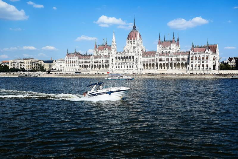 View on Parliament in Budapest from the Danube river royalty free stock photos