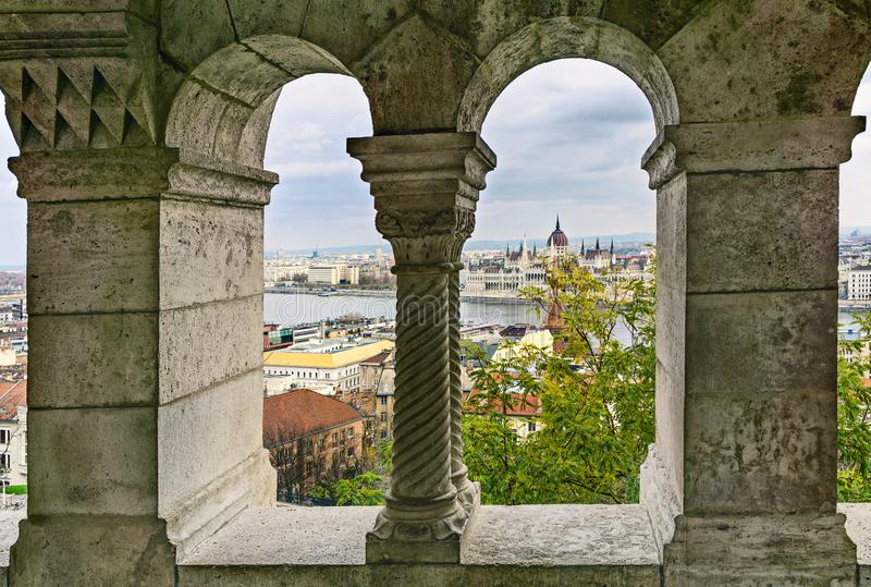 View of the Parliament building from the Buda Hill. Fisherman`s. Bastion. Budapest. Hungary stock images