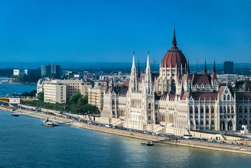 View of Parliament building in Budapest, Hungary from the opposite bank of the Danube stock photos