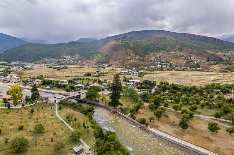 View of Paro city from Rinpung Dzong temple stock photos