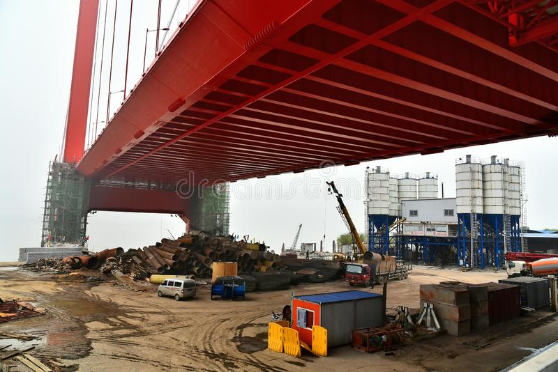 A view of parrot island bridge construction site in wuhan city,china royalty free stock photos
