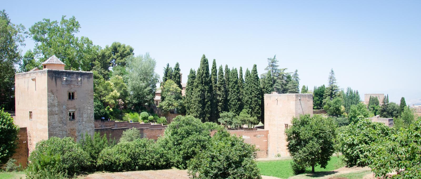 Detail of a wall of the Alhambra palace in Granada. Spain stock images