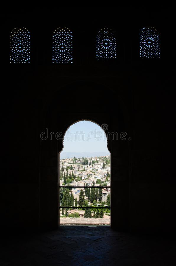 Detail of a the palace of Alhambra in Granada. Backlighing royalty free stock photos
