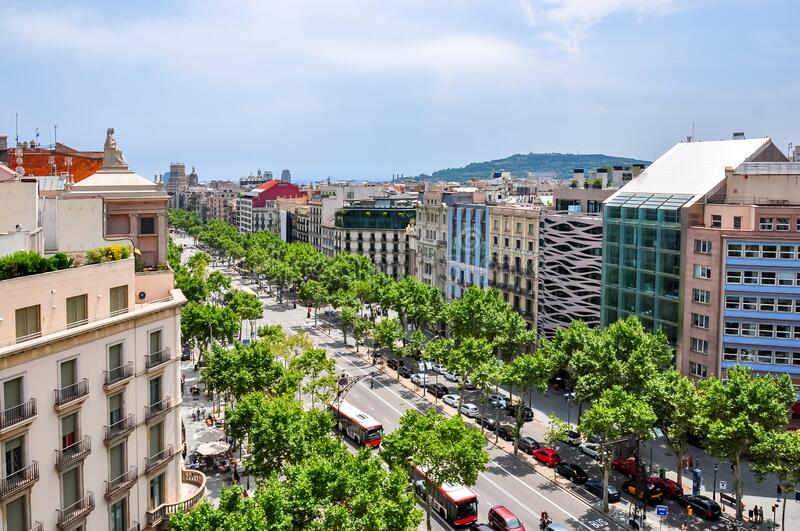 View of Paseo de Gracia street from top of Casa Mila house, Barcelona, Spain stock images