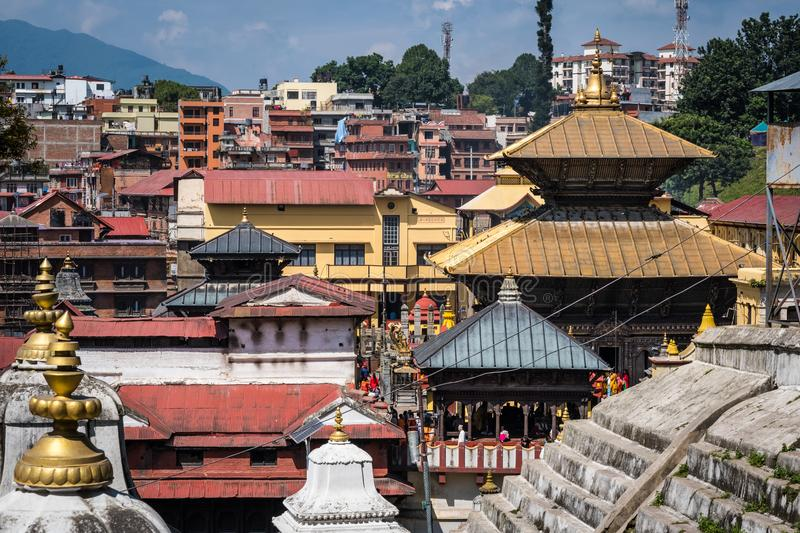 View on the Pashupatinath temple royalty free stock photos