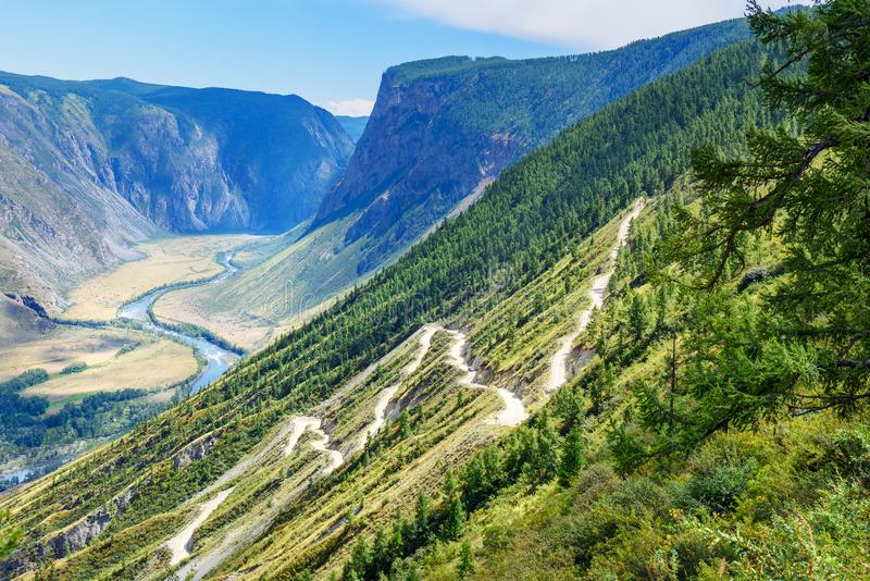 Pass Katu-Yaryk and Valley of Chulyshman river. Altai Republic. Russia stock image