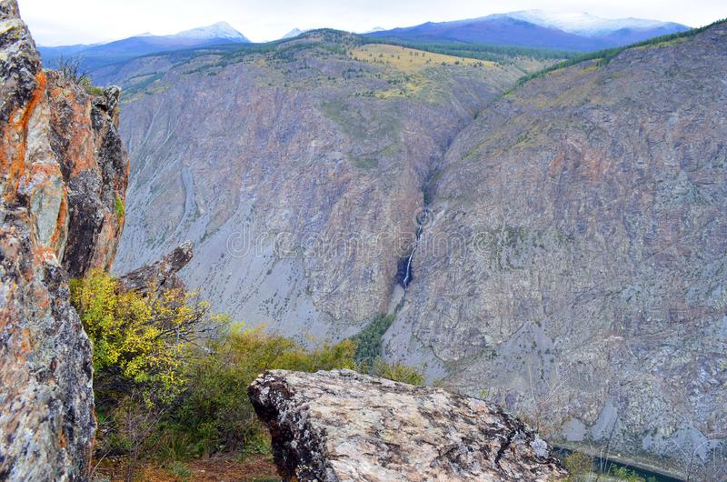 The view from the pass Katu-Yaryk the valley of the river Chulyshman. Altai. royalty free stock photography