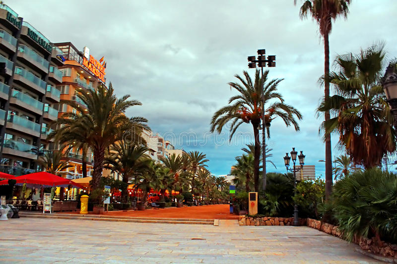 The view of passege promenade street from the City Hall in Lloret de Mar, Costa Brava, Catalonia royalty free stock images