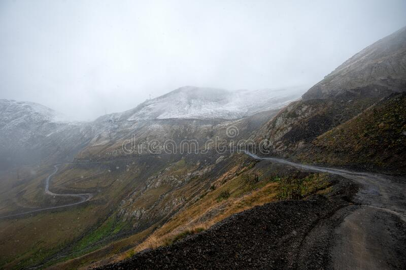 View of the path to the Abano Pass, Georgia royalty free stock photo