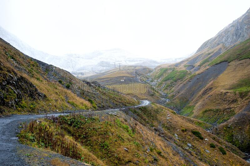 View of the path to the Abano Pass, Georgia royalty free stock photography