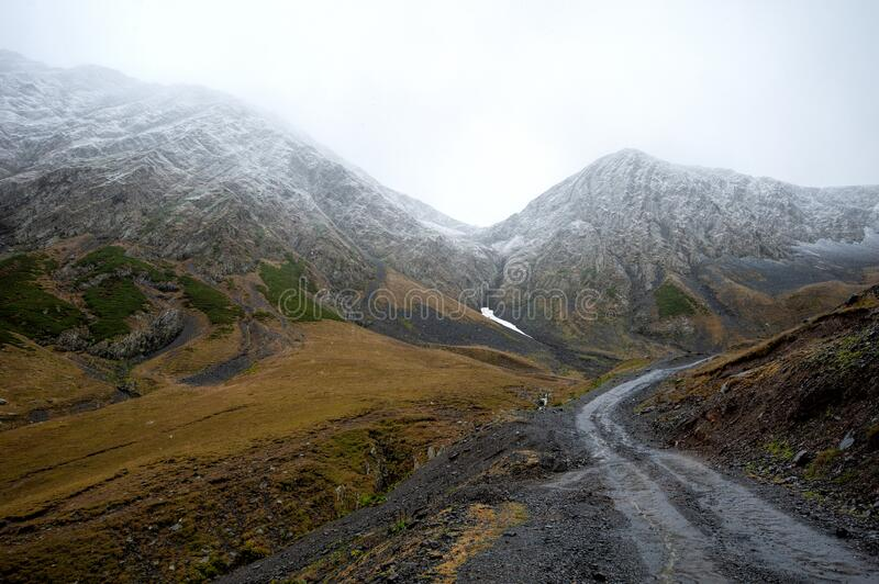 View of the path to the Abano Pass, Georgia stock image