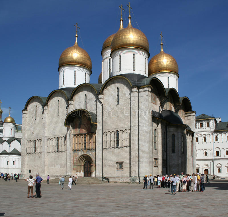 View of the Patriarchal Assumption Cathedral of the Moscow Kremlin royalty free stock photography