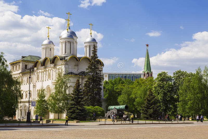 View of the Patriarchal Palace , the Church of the Twelve Apostles and Tsar cannon from the Ivanovo square, Moscow Kremlin. Russia royalty free stock images