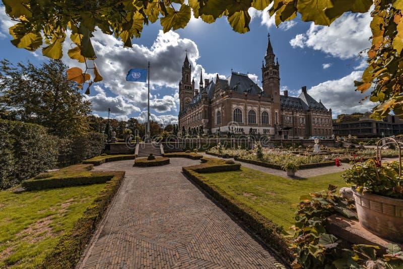 Peace Palace garden in Autumn stock photo