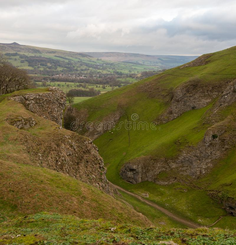 A view of the Peak District national park Castleton in Derbyshire, UK stock image