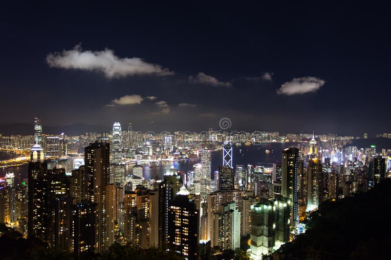 View from The Peak, Hong Kong. The island of Hong Kong at night time, viewed from the Victoria Peak, showcasing glamorous night life and endless bright neon royalty free stock photography