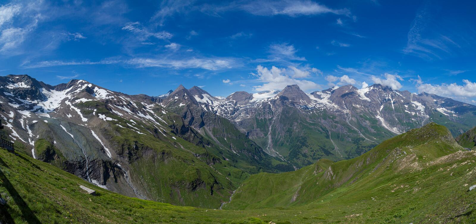 View of the peaks of the Austrian Alps and the valley royalty free stock images