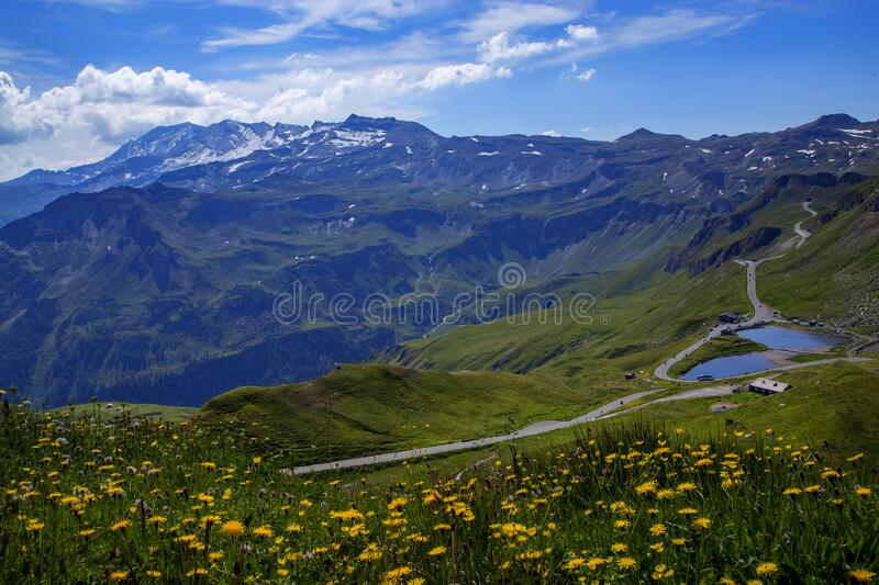 View of the peaks of the Austrian Alps and the valley stock photos