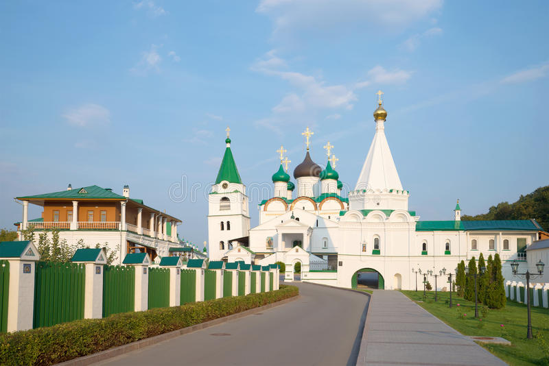 View on the Pechersky Ascension monastery, evening in august. Nizhny Novgorod stock images