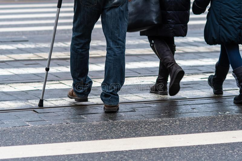 View of pedestrians legs crossing the white zebra crossing line - Image stock photos