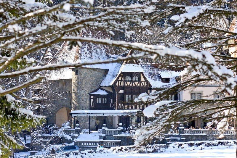View of Peles Castle Complex, Sinaia, Romania. Peles Castle Complex in winter, Romania royalty free stock photo