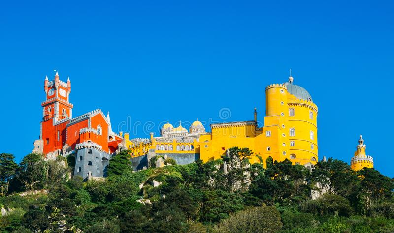 View of Pena National Palace, Sintra, Portugal, Europe. Pena National Palace is a Romanticist palace in Sao Pedro de Penaferrim, Sintra, Portugal - UNESCO World royalty free stock photos