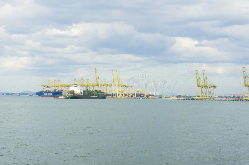 View of Penang Port in Butterworth, Malaysia. Panoramic view of Penang Port in Butterworth, Malaysia stock photos