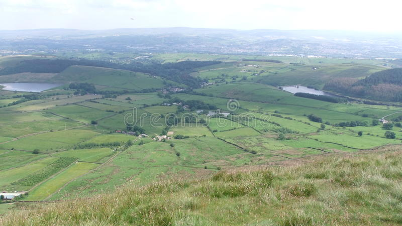 View from Pendle hill down in to Barley stock images