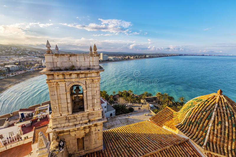 View on Peniscola from the top of Pope Luna's Castle , Valenci stock photo