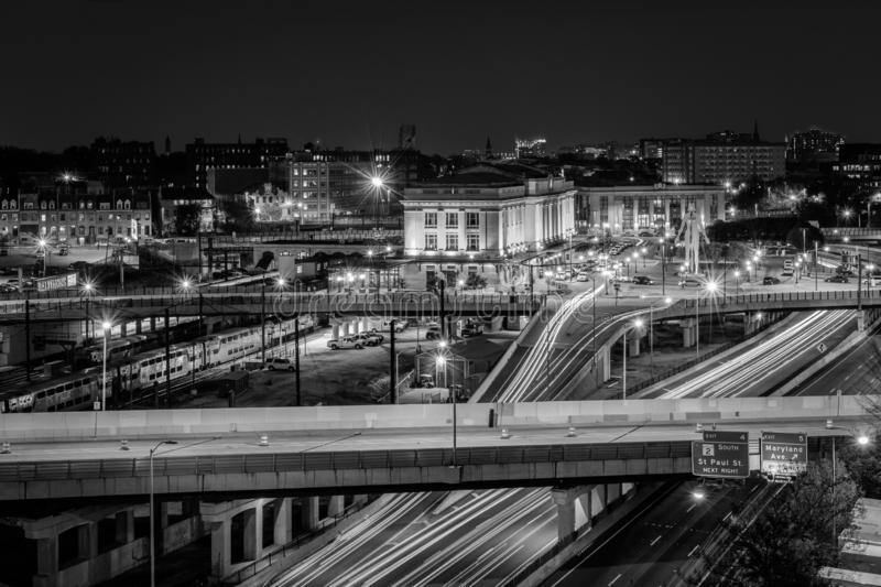View of Penn Station and the Jones Falls Expressway at night, in Midtown Baltimore, Maryland.  royalty free stock photos
