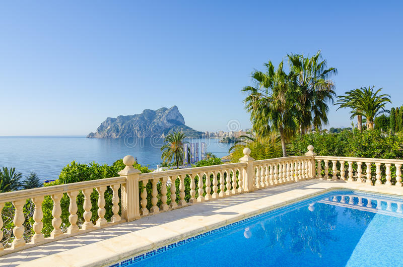 View on Penon de Ifach from villa, Calpe royalty free stock photography