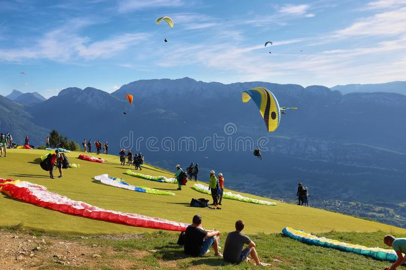View of people doing paragliding from Col du Forclaz, France stock photo