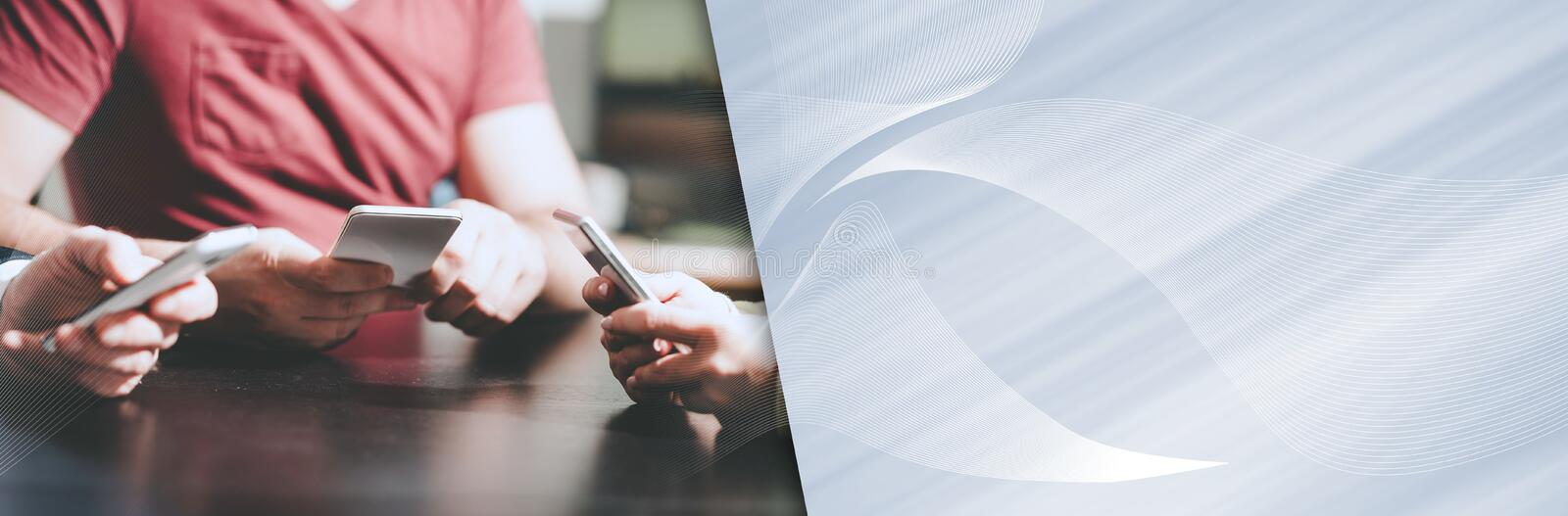 People hands using mobile phones. panoramic banner stock images