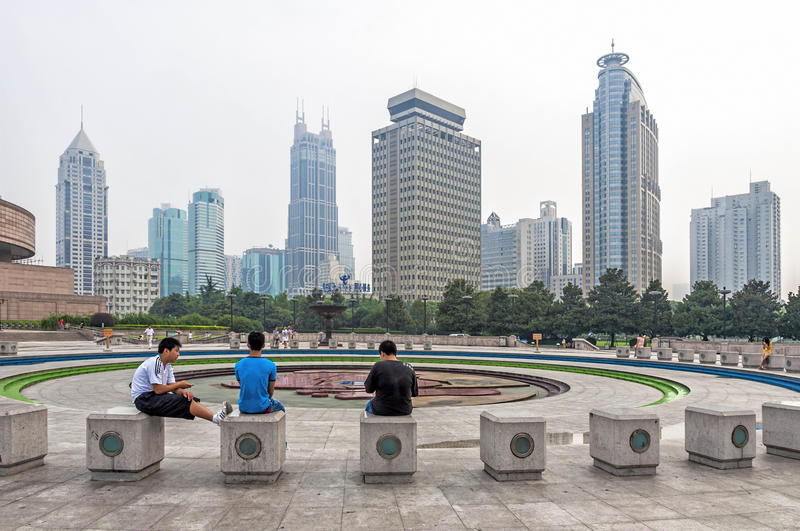 View of People Square in Shanghai, China stock image