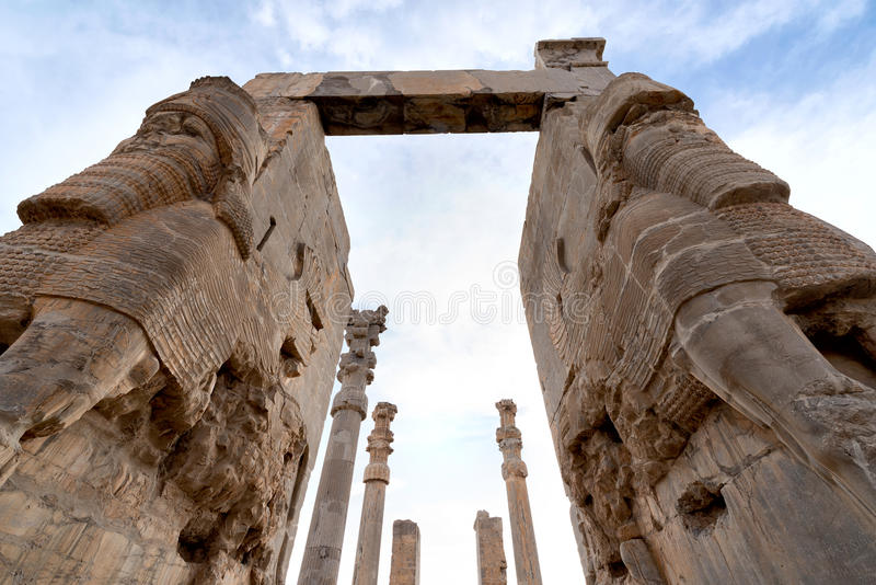 View of Persepolis in northern Shiraz, Iran. Persepolis has led to its designation as a UNESCO World Heritage Site royalty free stock photos
