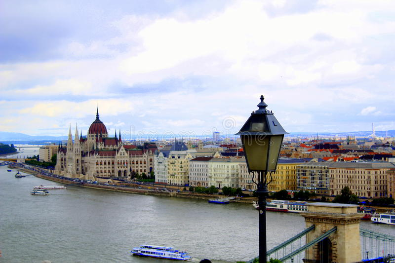 View of Pest from Buda castle stock photos