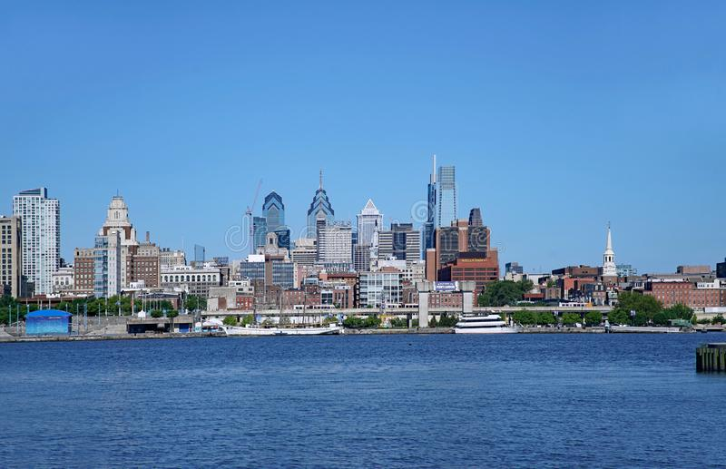 View of the Philadelphia skyline from across the Delaware River royalty free stock photo