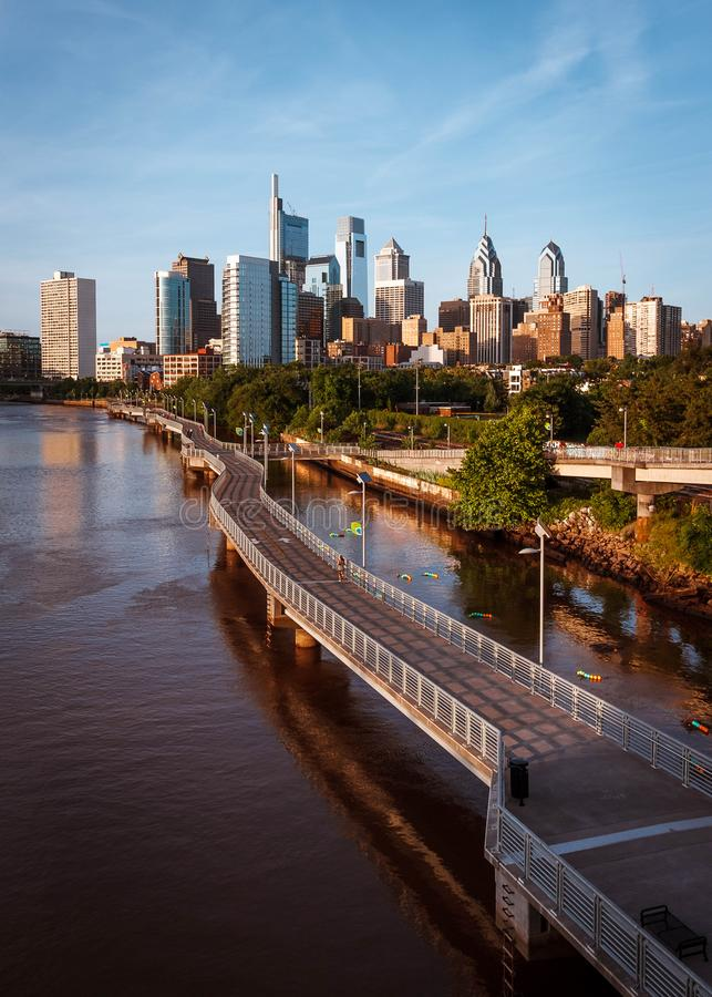 View of the Philadelphia skyline. View of the skyline of Philadelphia from the South Street bridge a few minutes before sunset royalty free stock images