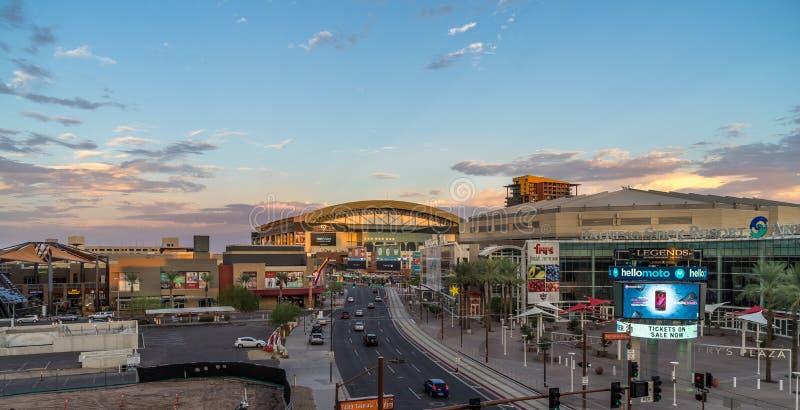 View in phoenix Arizona. Phoenix Arizona USA - AUG 28, 2017. View of US Airways Center and Chase Field. Chase Field is the home of the Arizona Diamondbacks royalty free stock photography