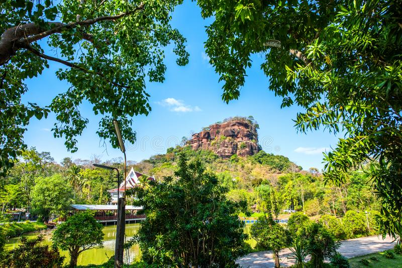 View of Phutok noi on the top of phutok mountain,Buengkan,Thailand.  stock photos