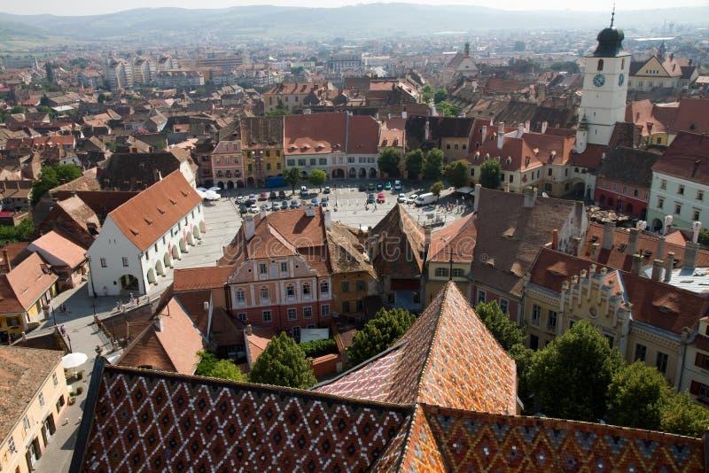 View at piata mare, Sibiu stock photography