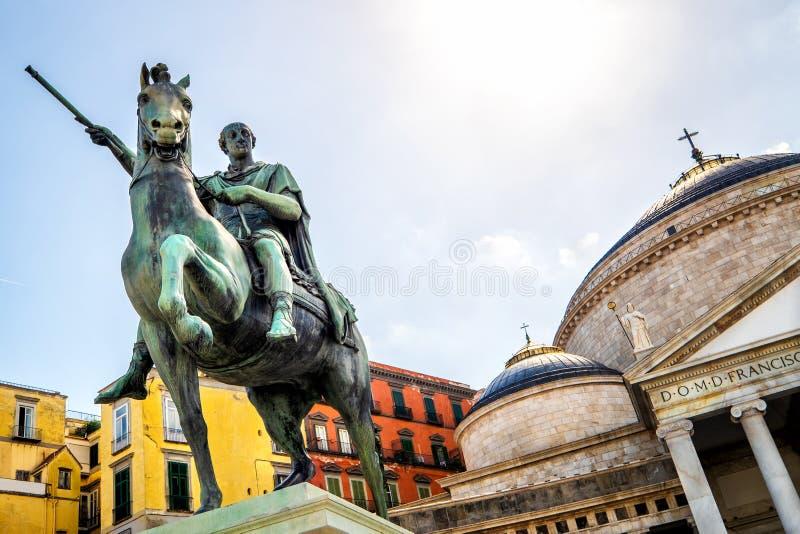 View of Piazza del Plebiscito, Naples,Italy stock photos