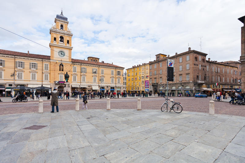 View of Piazza Garibaldi in Parma, Italy stock photos