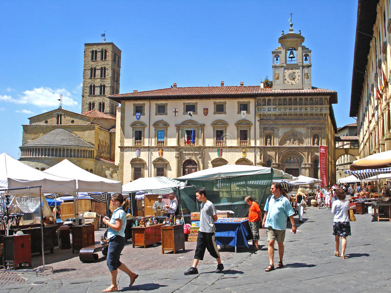 A view of the Piazza Grande in Arezzo in Italy. stock photography