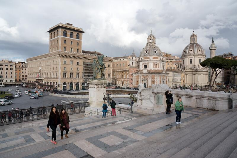 View of Piazza Venezia with the Church of Santa Maria di Loretto from the stairs of the Vittoriano monument on Capitol hill. stock photo