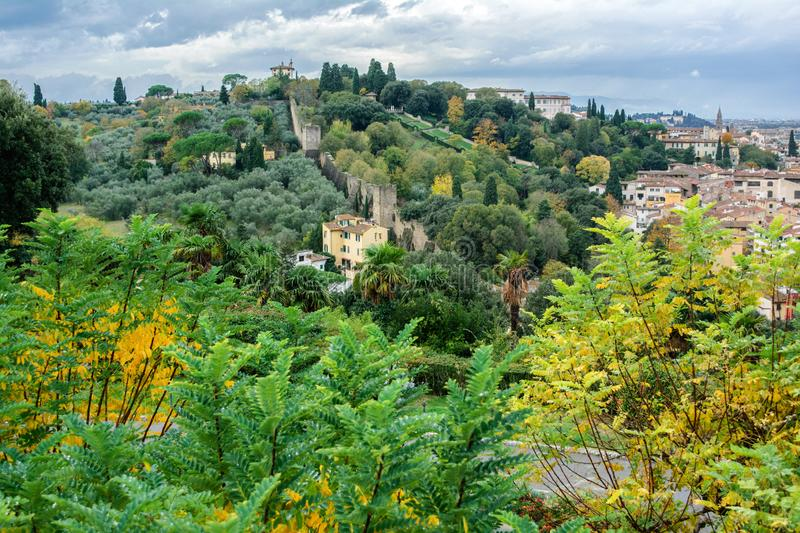 View from Piazzale Michelangelo to the Bardini gardens Giardino Bardini and Montecuccoli hill stock image