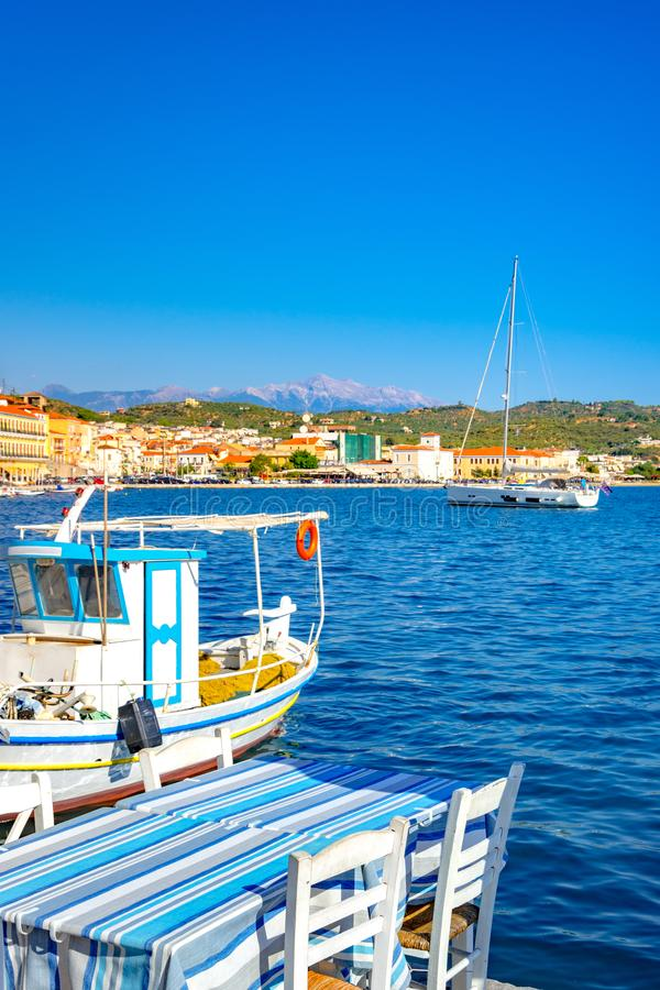 View of the picturesque coastal town of Gythio, Peloponnese. royalty free stock image