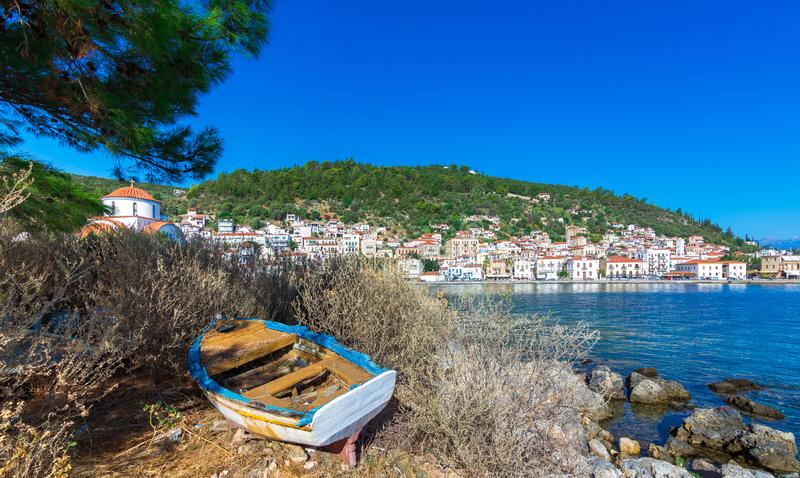 View of the picturesque coastal town of Gythio, Peloponnese. stock image